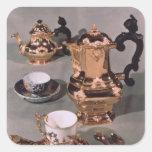 Teapot, sugar bowl, chocolate pot and mug square sticker