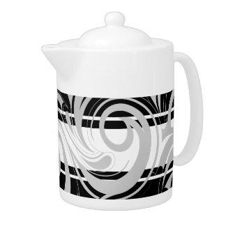 Teapot Swirl Floral Gray Black White