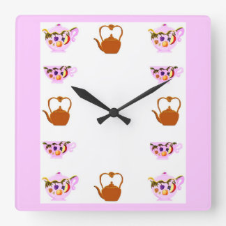 Teapot, Teacup, And Copper Teakettle Square Wall C Square Wall Clock