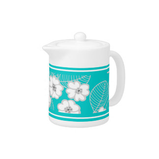 Teapot Teal Blue Aqua White Damask DECOR SETS