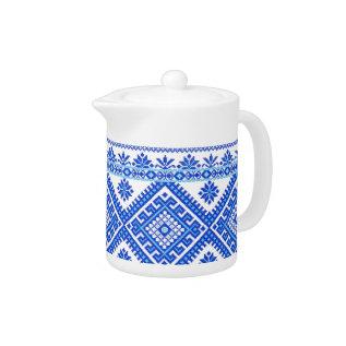 Teapot Ukrainian Cross Stitch Embroidery Blue at Zazzle