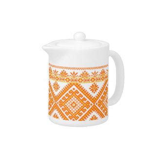 Teapot Ukrainian Embroidered Orange Print