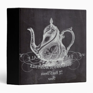 teapot vintage Chalkboard bridal shower tea party 3 Ring Binder