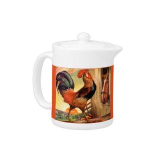 Teapot Vintage Early Farm Morning Rooster & Horse