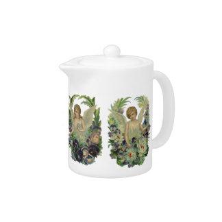 Teapot Vintage Victorian 2 Angels Floral Flowers