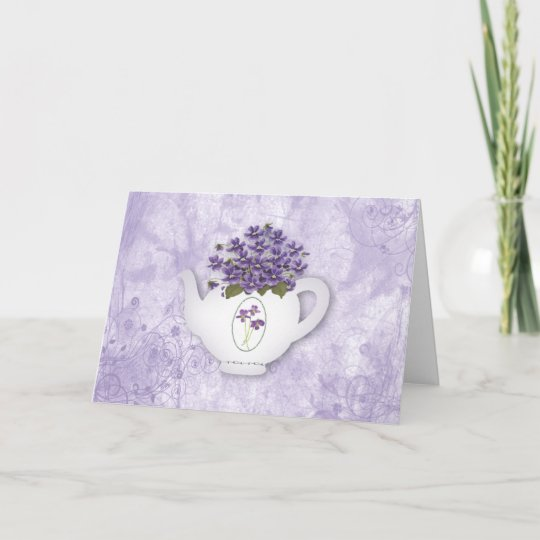 Teapot Violets Birthday Card Large Print