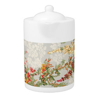 Teapot with a vintage floral  illustration