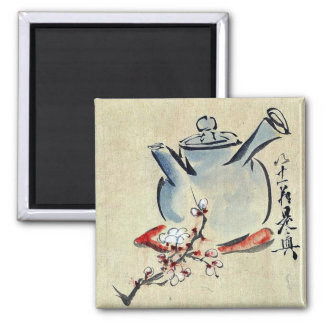 Teapot with cherry or plum blossoms Ukiyoe 2 Inch Square Magnet