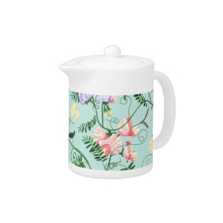 Teapot with decorative sweet pea flowers