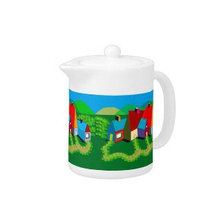 Teapot with Folk Art Landscape