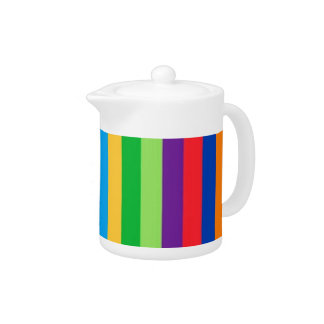 Teapot with Large, Colorful Stripes