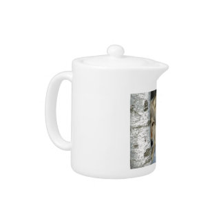 teapot with photo of gray wolf in some birch trees