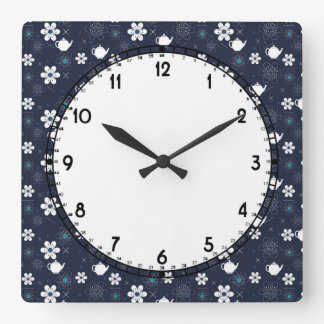 Teapots and Flowers Square Wall Clock
