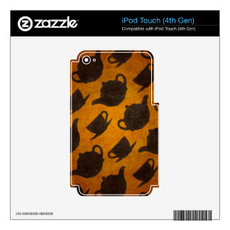 Teapots Cups Design Symbol Texture Pattern Skin For iPod Touch 4G