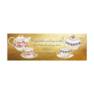 Teapots + Cups With Quote About Tea Canvas Print