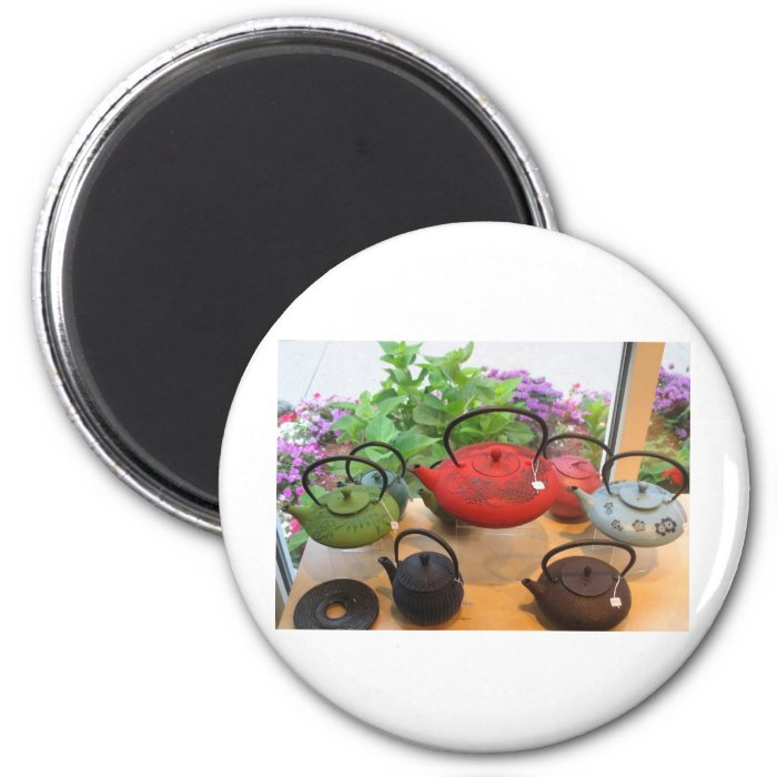 Teapots in the Window 2 Inch Round Magnet