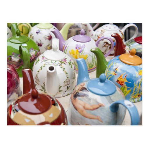 Teapots on sale in Leipzig, Germany Post Cards