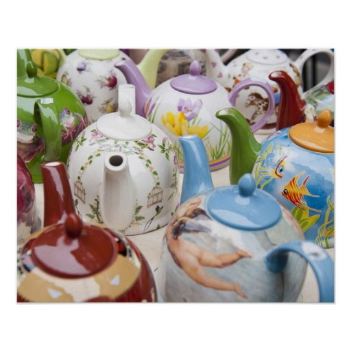 Teapots on sale in Leipzig, Germany Poster