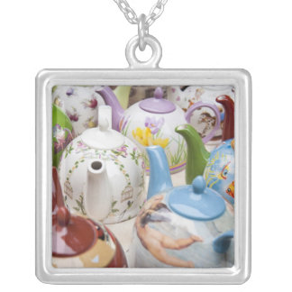 Teapots on sale in Leipzig, Germany Silver Plated Necklace