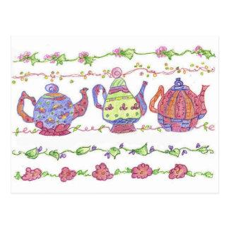 Teapots Tea Time Flowers Orange Postcard