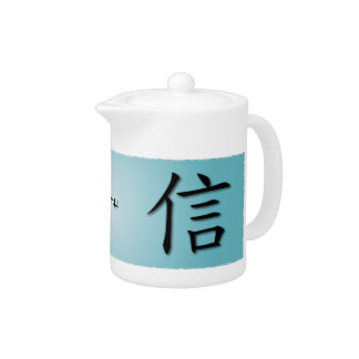Teapots With Chinese Symbol For Faith On Water