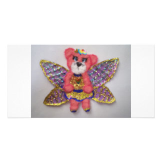 Tear bear fairy custom photo card
