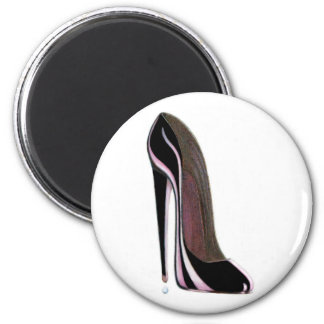 Tear drop and black stiletto shoe refrigerator magnets