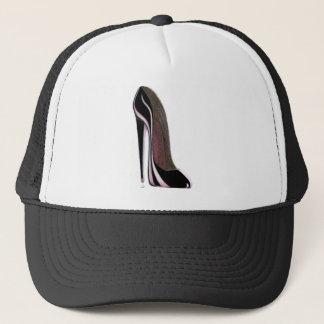 Tear drop and black stiletto shoe trucker hat