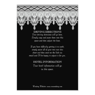 Tear Drop Lace, Black & White Driving Directions Card