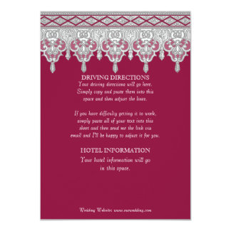 Tear Drop Lace, Burgundy Red Driving Directions Card