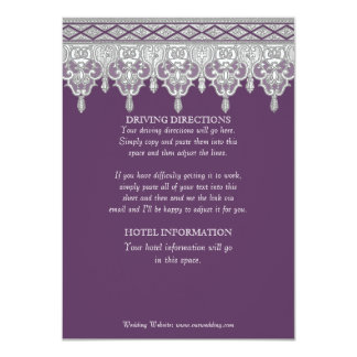 Tear Drop Lace, Lavender & Grey Driving Directions Card
