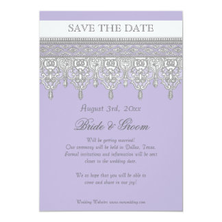 Tear Drop Lace, Lavender & Grey - Save the Date Card