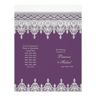 "Tear Drop Lace Plum Purple Elegant Wedding Program 8.5"" X 11"" Flyer"