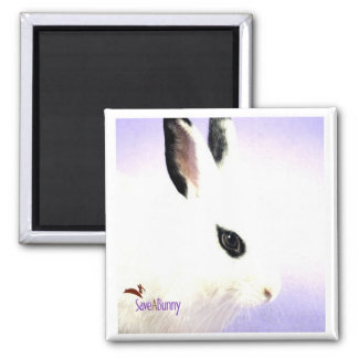 Teardrop Bunny 2 Inch Square Magnet