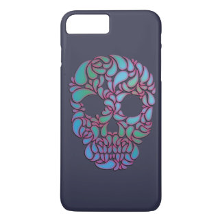 Teardrop Candy Skull In Blue, Green and Pink iPhone 7 Plus Case