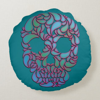 Teardrop Candy Skull In Blue, Green and Pink Round Pillow