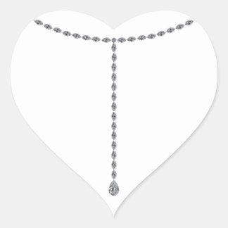 Teardrop Diamond Necklace Heart Sticker