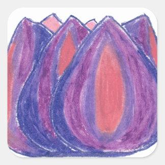 teardrop flower square sticker