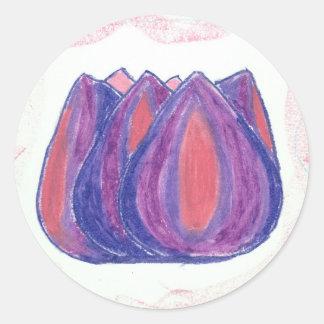 teardrop flower round sticker