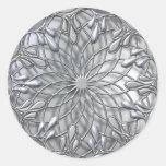 Teardrop Jeweled Silver Sticker Round Sticker