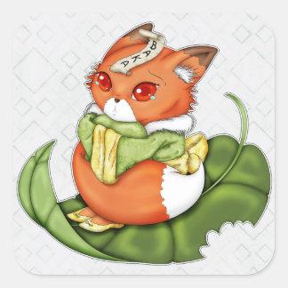 Tearful Japanese Chibi Kitsune Square Sticker