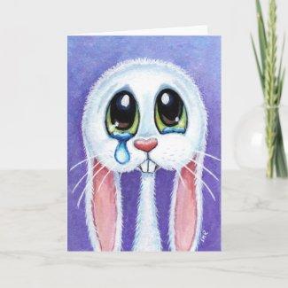 Tearful Sad Bunny Rabbit Blank Greeting Card card