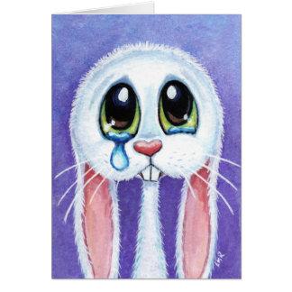 Tearful Sad Bunny Rabbit Blank Greeting Card