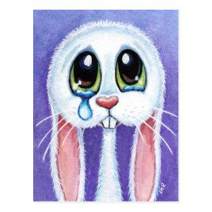 Tearful Sad Bunny Rabbit Postcard