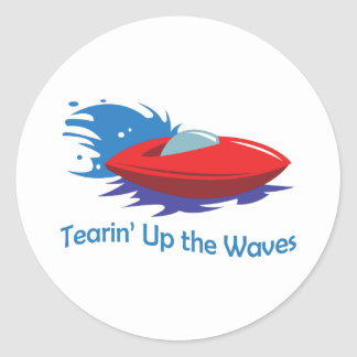 TEARIN UP THE WAVES ROUND STICKERS
