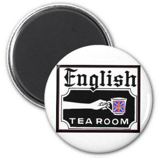 Tearoom inglés imán redondo 5 cm