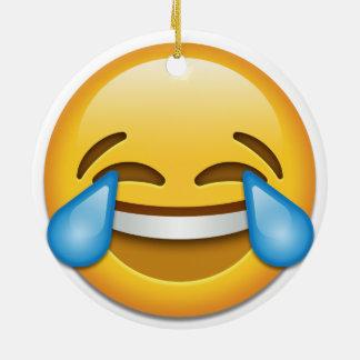 Tears of Joy emoji funny double side Christmas Ceramic Ornament