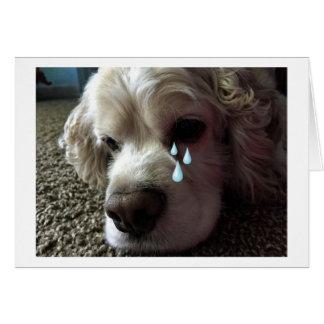 "TEARY EYED COCKER SPANIEL SAYS ""I MISS YOU"" CARD"