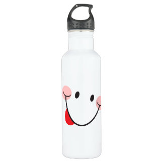 Teasing sticking out tongue funny smiley face 24oz water bottle