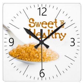 Teaspoon and brown sugar square wall clock